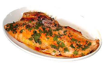 Hot roasted side of salmon.