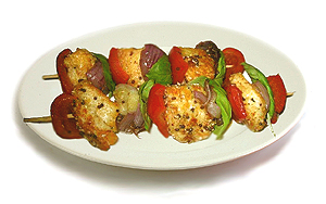 Spicy halloumi cheese kebabs.
